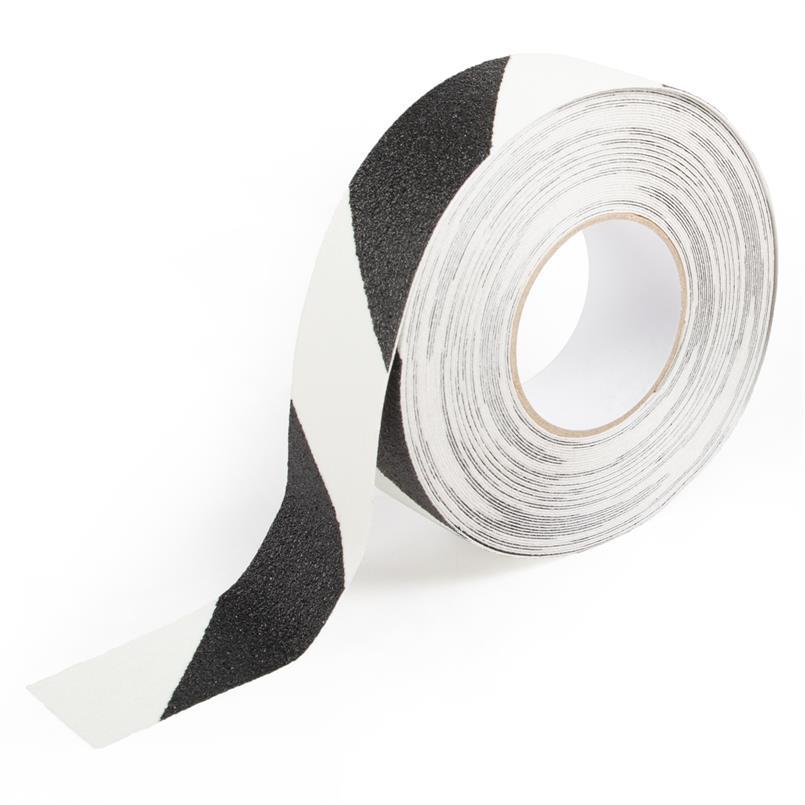 Antislip tape gevarenzone glow/zwart B=50mm L=18,3m