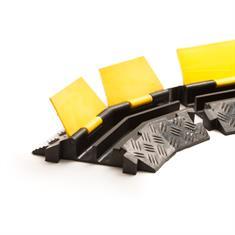 Kabelbrug 2 kanalen bochtstuk rechts zwart/geel 400x255x45mm