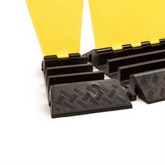 Kabelbrug 3 kanalen bochtstuk links zwart/geel 310x505x76mm