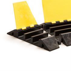 Kabelbrug 3 kanalen bochtstuk rechts zwart/geel 310x505x76mm
