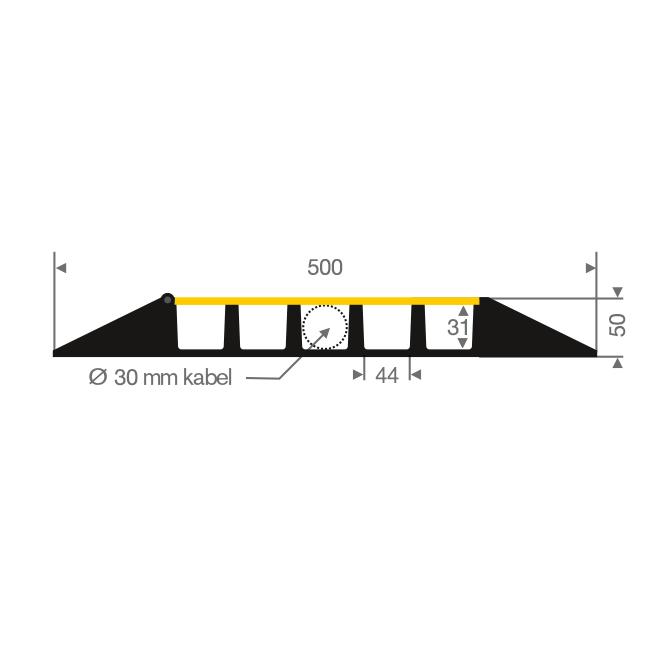 Kabelbrug 5 kanalen zwart/geel LxBxH=905x505x55mm