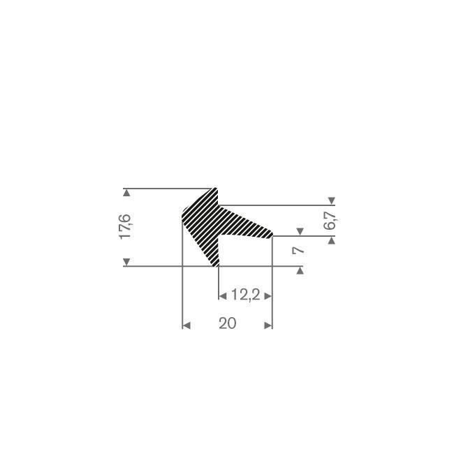 Mosrubber profiel BxH=20x17,6mm