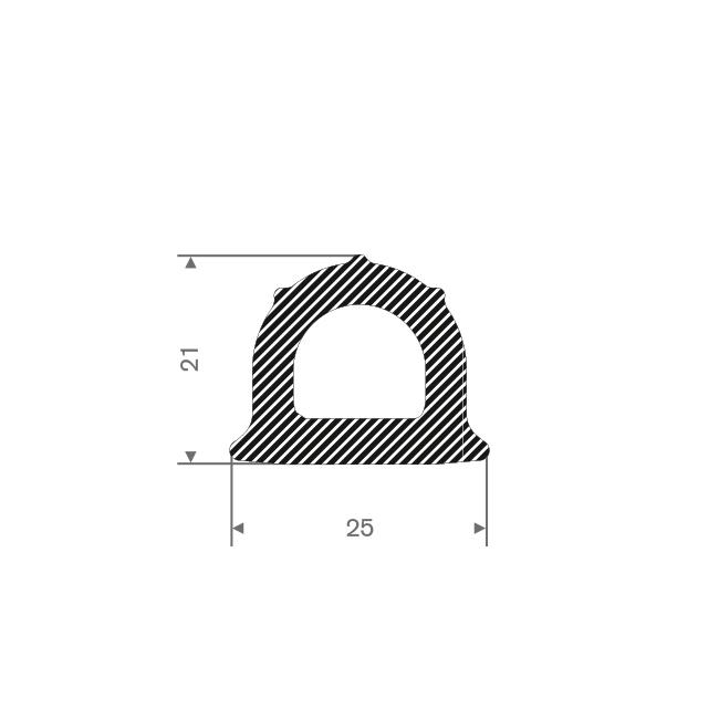 Mosrubber profiel BxH=25x21mm