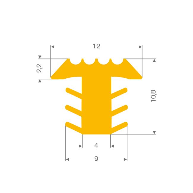 PVC infrais profiel geel BxH= 12x10,8mm
