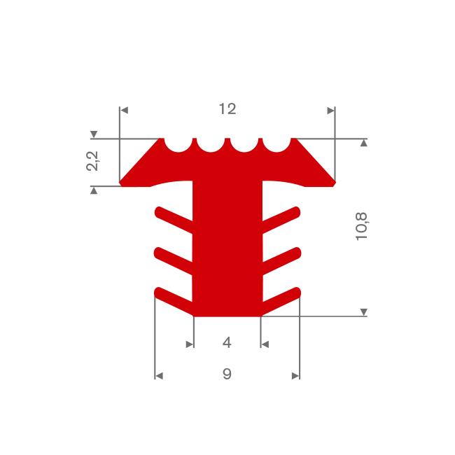 PVC infrais profiel rood BxH= 12x10,8mm