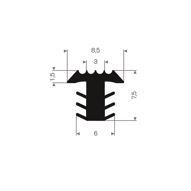 PVC infrais profiel zwart BxH=8,5x7,5mm