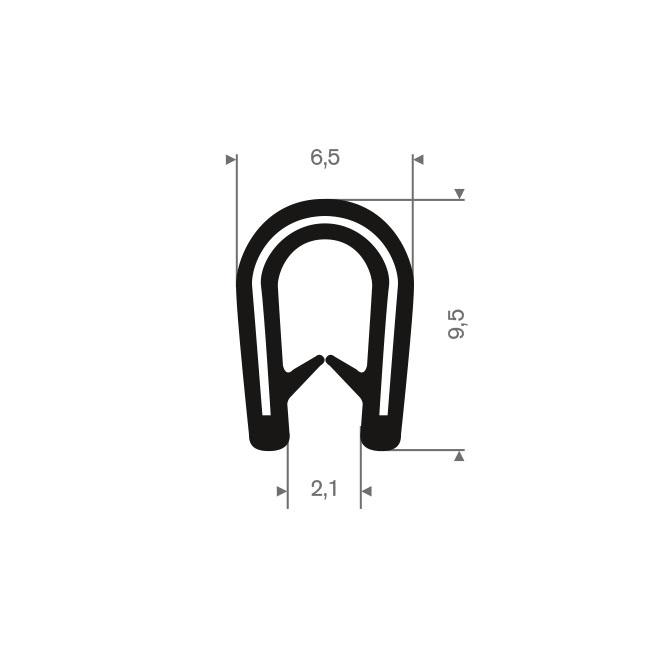 PVC kantafwerkprofiel donkergrijs 0,5-2,0mm /BxH= 6,5x9,5mm