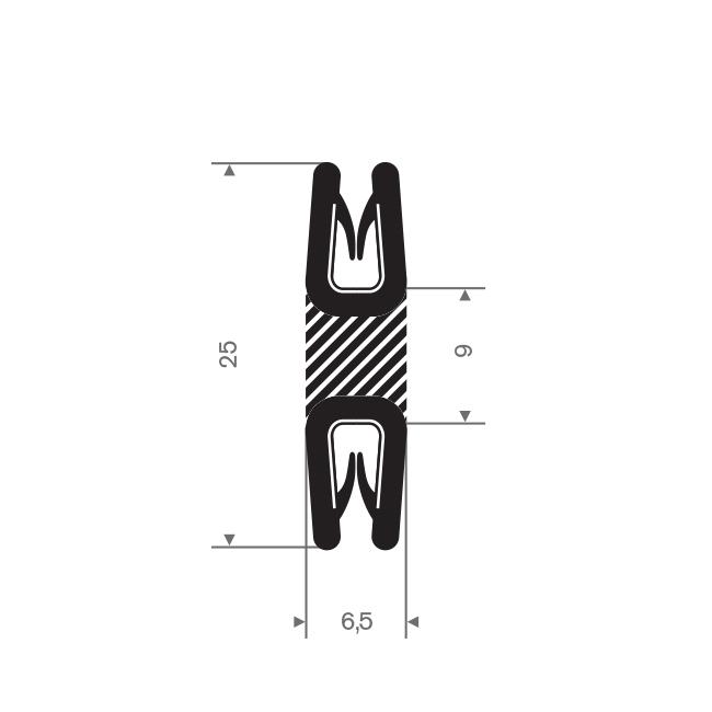 PVC kantafwerkprofiel dubbel zwart 0,5-1,5mm /BxH= 6,5x25mm