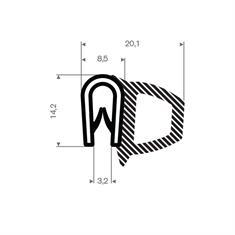 PVC/Mosrubber klemprofiel met kraal 1,5-3mm / BxH=20,1x14,2mm
