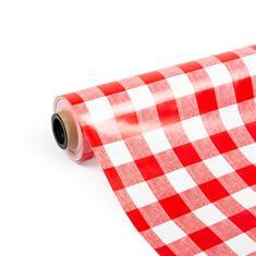 PVC tafelbekleding rood/wit (breedte 140cm)