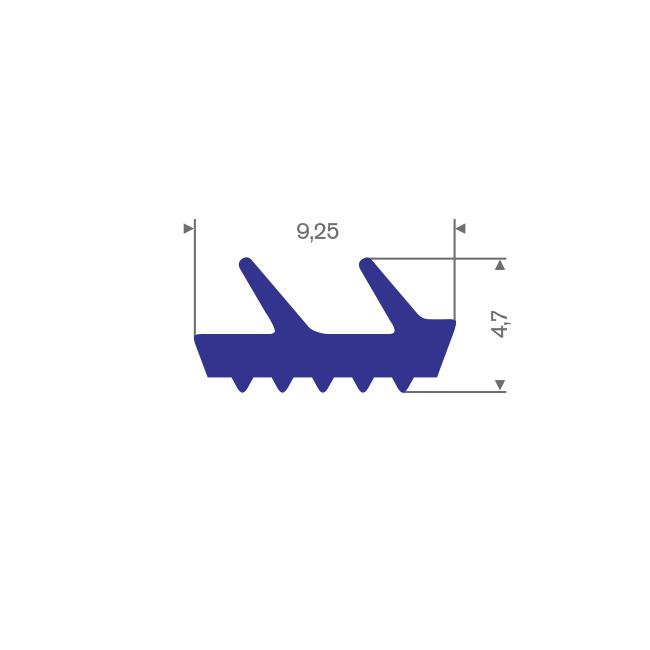 Siliconen profiel blauw BxH= 9,25x4,7mm