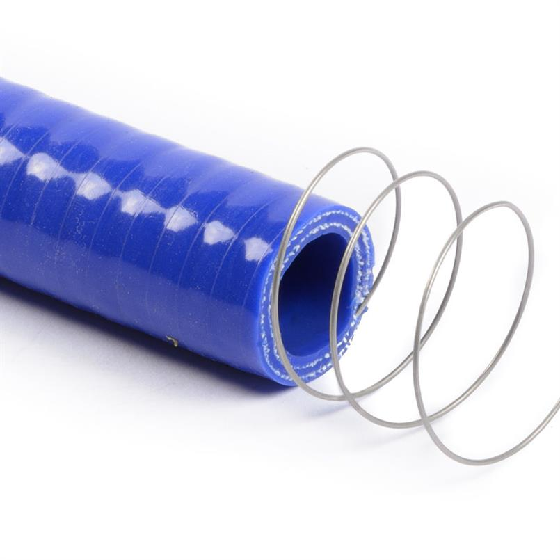 Siliconen slang m/stalen spiraal blauw DN=16mm L=1000mm