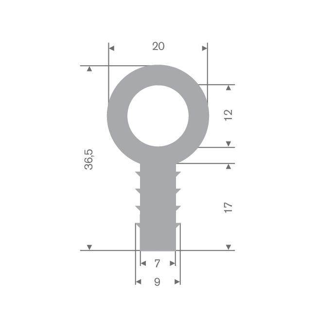 TPE stootprofiel grijs BxH=20x36,5mm