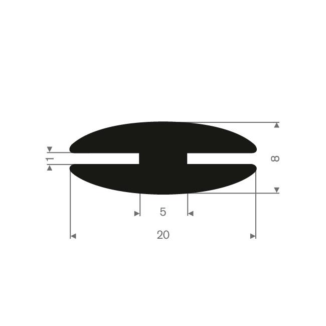 Volrubber H-profiel 1mm / BxH=20x8mm