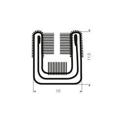 Volrubber met metaal raamloopprofiel BxH=10x11,5mm L=2000mm