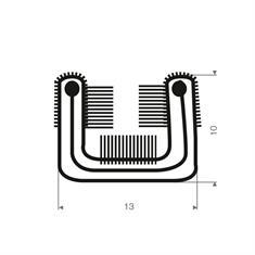 Volrubber met metaal raamloopprofiel BxH=13x10mm