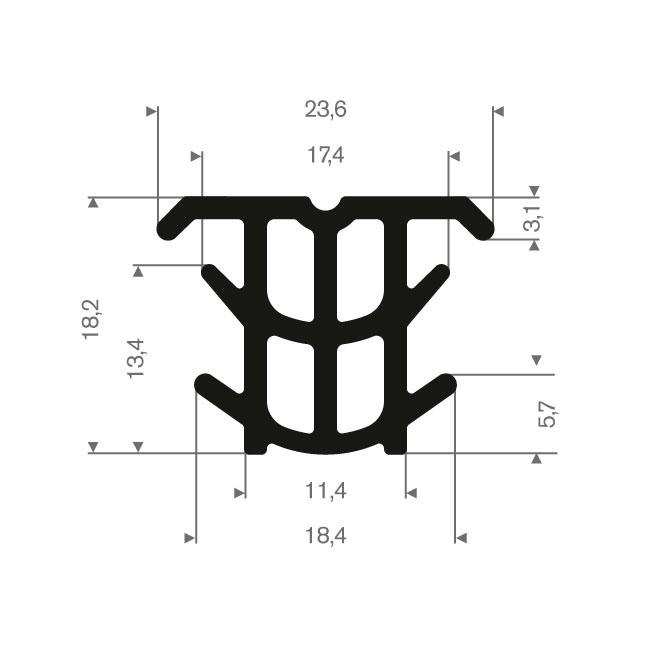 Volrubber T-profiel BxH=23,6x18,2mm