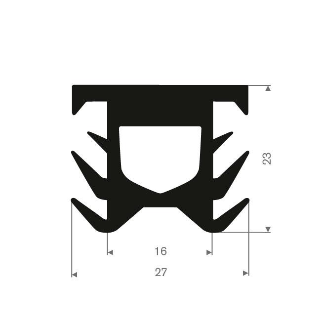 Volrubber T-profiel BxH= 27x23mm