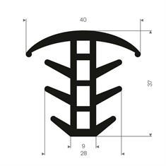 Volrubber T-profiel BxH= 40x37mm
