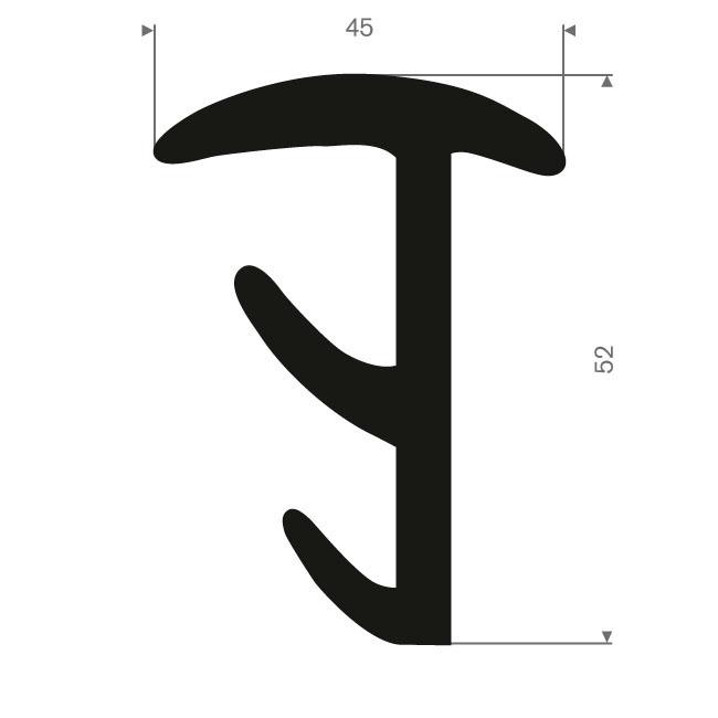 Volrubber T-profiel BxH= 45x52mm