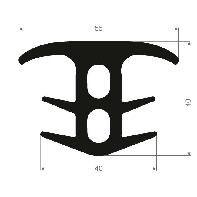 Volrubber T-profiel BxH= 55x40mm