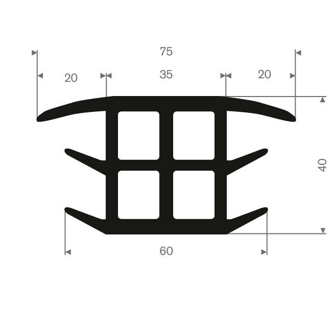 Volrubber T-profiel BxH= 60x40mm