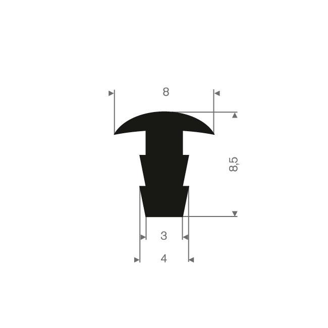 Volrubber T-profiel BxH=8x8,5mm