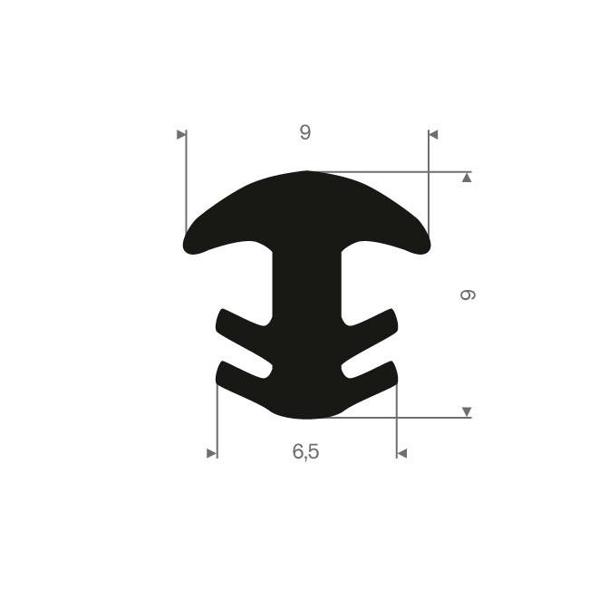 Volrubber T-profiel BxH=9x9mm