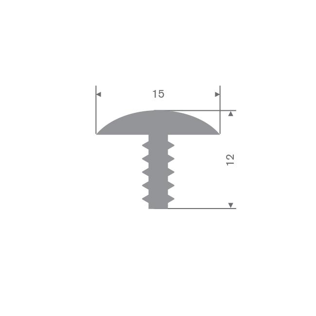Volrubber T-profiel grijs BxH=15x12mm