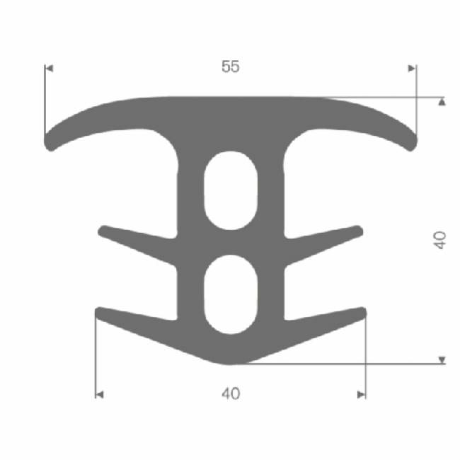 Volrubber T-profiel grijs BxH= 55x40mm